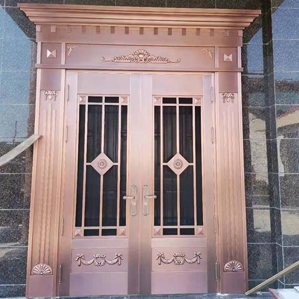 双开铜门安装